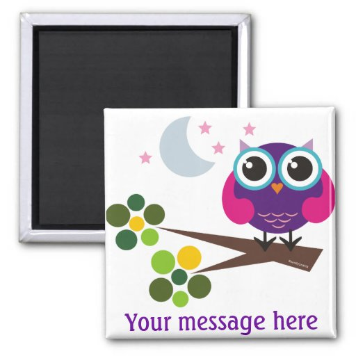 Oliver the Owl Customisable Square Magnet