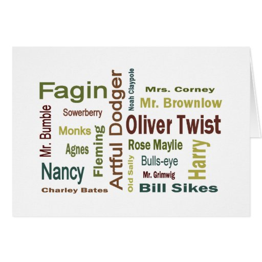 Oliver Twist Characters Card
