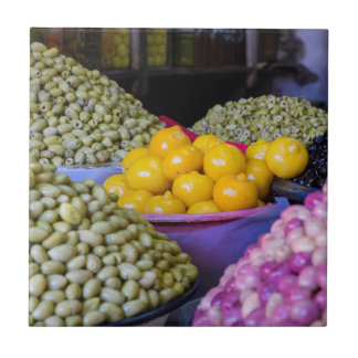 Olives And Lemon At Market Tile