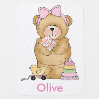 Olive's Teddy Bear Personalized Gift Receiving Blankets