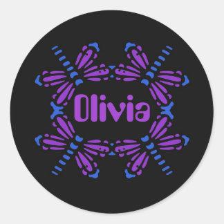 Olivia, dragonflies in blue & purple on black round sticker