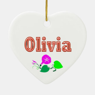OLIVIA  Girl Name Text Double-Sided Heart Ceramic Christmas Ornament