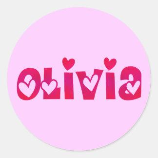 Olivia in Hearts Classic Round Sticker