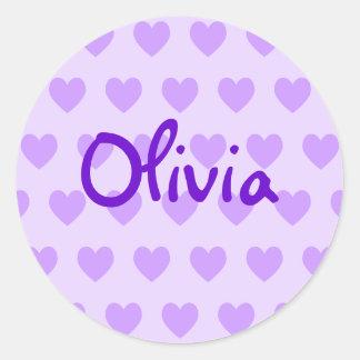 Olivia in Purple Round Sticker