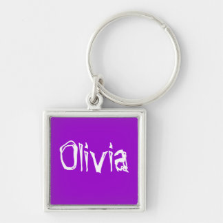 Olivia Silver-Colored Square Key Ring