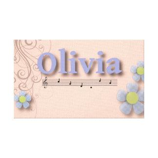 Olivia Musical Name Bedroom Nursery Room Canvas Prints