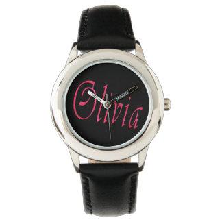 Olivia, Name, Logo, Girls Black Leather Watch. Wrist Watch