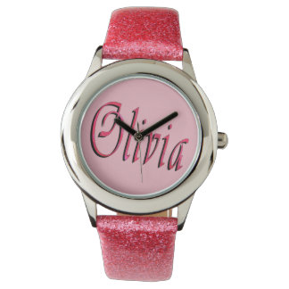 Olivia, Name, Logo, Girls Pink Glitter Watch. Wrist Watches