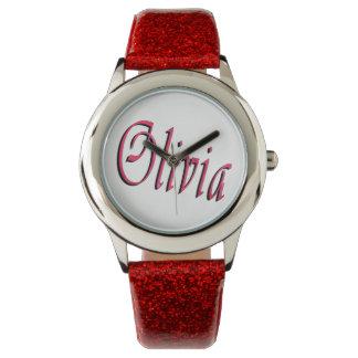 Olivia, Name, Logo, Girls Red Glitter Watch. Wrist Watches