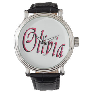 Olivia, Name, Logo, Large Black Leather Watch. Wristwatches