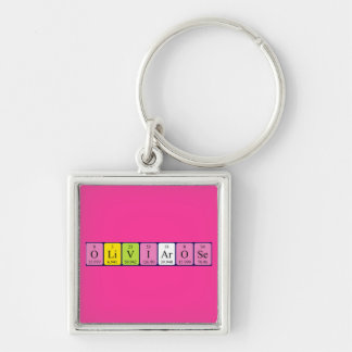 Olivia-Rose periodic table name keyring Silver-Colored Square Key Ring