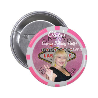 Olivia's Surprise Birthday Party Pink Poker Chip L Pinback Buttons