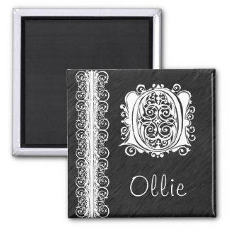 Ollie O Monogram White Lace on Black Magnet