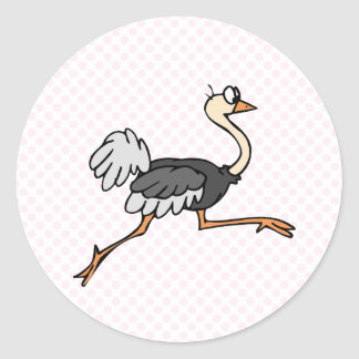 Ollie Ostrich Round Sticker