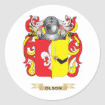 Olson Coat of Arms (Family Crest) Round Stickers