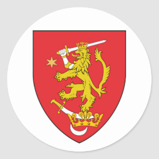 oltenia historic romania armorial chevron symbol l round sticker