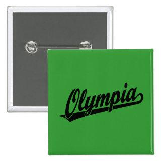 Olympia script logo in black 15 cm square badge