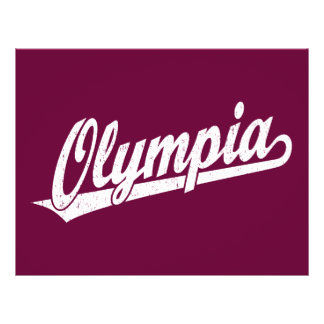Olympia script logo in white distressed personalized flyer