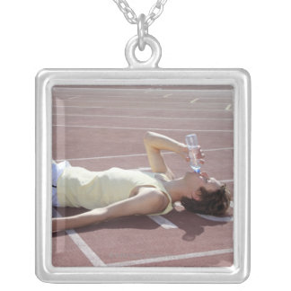 Olympic 2012 Athlete drinking after race Silver Plated Necklace