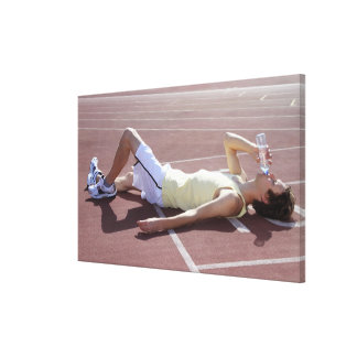 Olympic 2012 Athlete drinking after race Stretched Canvas Print