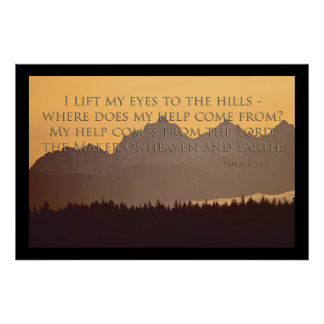 olympic mountains with psalm 121 1-2 poster