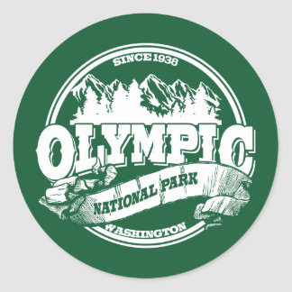 Olympic Old Circle Green Round Sticker