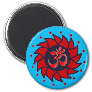 Om and Red Pinwheel - Yoga Magnets