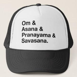 om & asana trucker hat