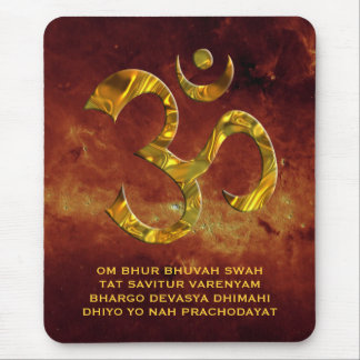 Om / Aum & GAYATRI MANTRA | universe of fire Mouse Mat