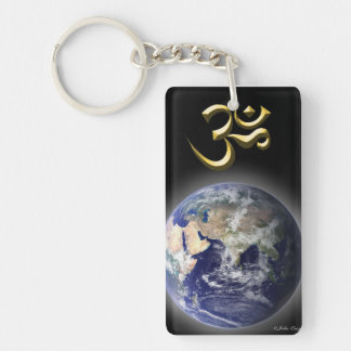 'Om (AUM) & Healing Symbol' Double-Sided Rectangular Acrylic Key Ring