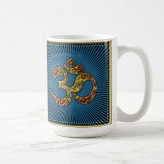 OM AUM - I AM - XL - gold framework - blue Coffee Mugs