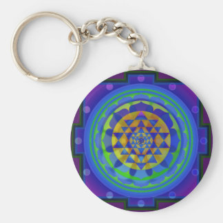 Om (AUM) Yantra mandala Basic Round Button Key Ring