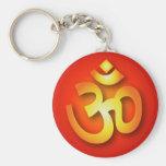 Om Basic Round Button Key Ring
