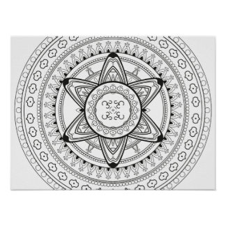 Om Black and White Mandala Adult Coloring Poster