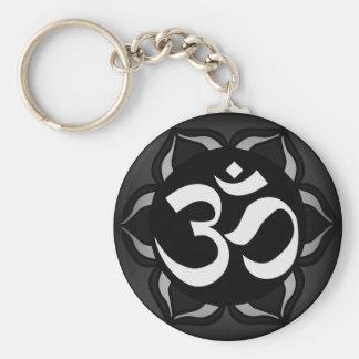 Om Black & White Peace Symbol Basic Round Button Key Ring