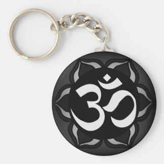 Om Black & White Peace Symbol Key Ring