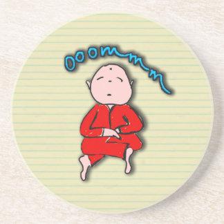 Om Boy in Red Meditation Beverage Coaster