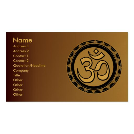 Om Business Cards Pick your background color.