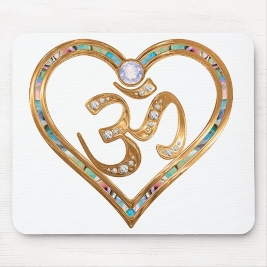 OM centred heart pad Mouse Mat