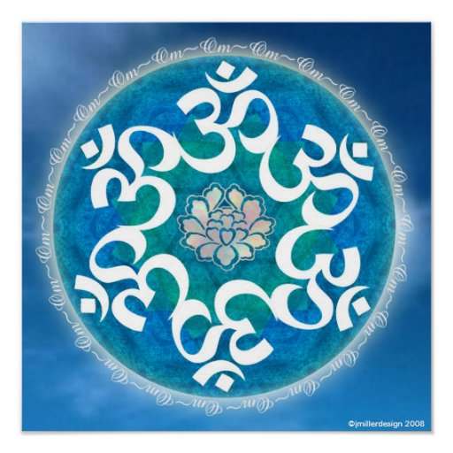 Om Circle Snowflake Mandala Poster