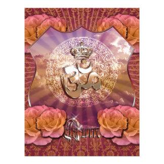 Om Crown emblem roses gold purple violett Yoga 21.5 Cm X 28 Cm Flyer