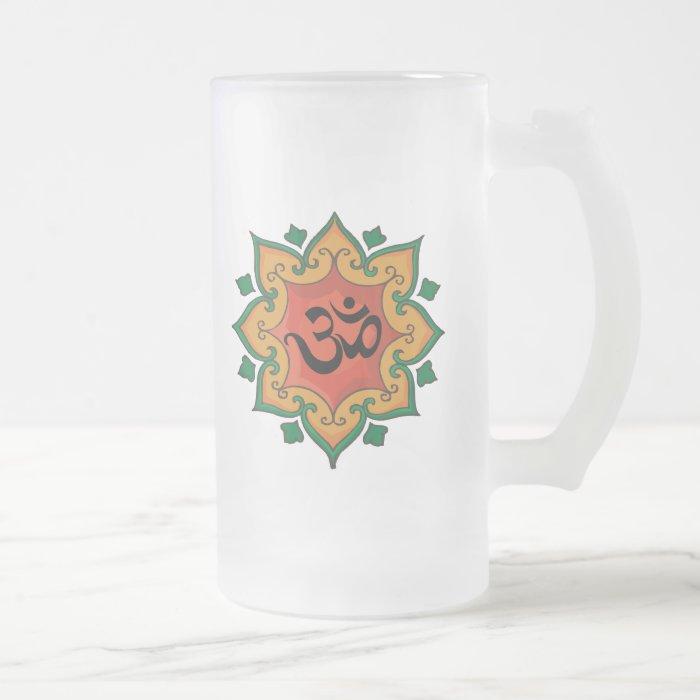 Om Frosted Glass Beer Mug