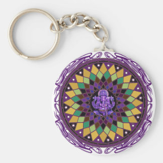 Om Ganesh Mandala Basic Round Button Key Ring