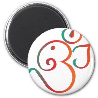 Om-ganpati-green-orange 6 Cm Round Magnet
