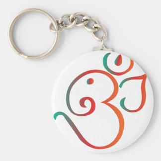 Om-ganpati-green-orange Basic Round Button Key Ring