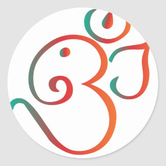 Om-ganpati-green-orange Classic Round Sticker