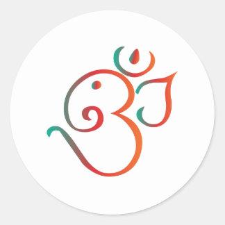 Om-ganpati-green-orange Round Sticker