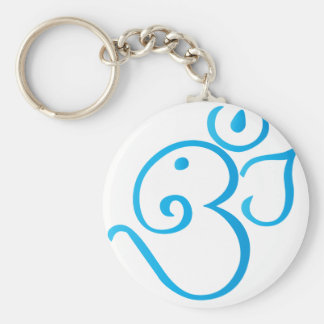 Om-ganpati-turqoise Basic Round Button Key Ring
