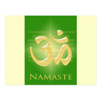 Om in Green & Gold - Namaste Postcard