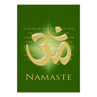 Om in Green & Gold - Namaste Poster